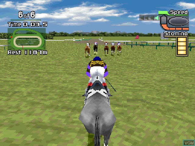 In-game screen of the game G1 Jockey on Sony Playstation
