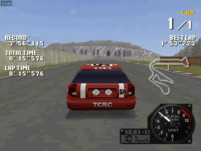 In-game screen of the game J's Racin' on Sony Playstation
