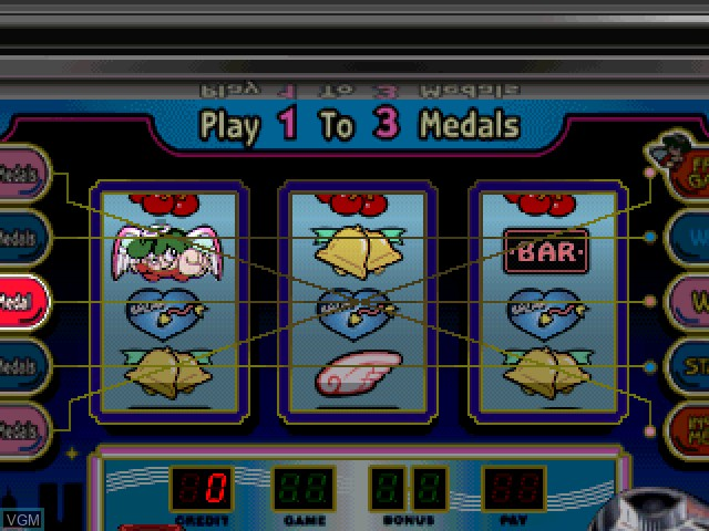 In-game screen of the game Pachi-Slot Kanzen Kouryaku - Universal Koushiki Gaido Vol. 1 on Sony Playstation
