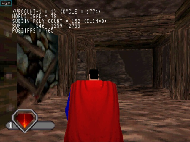 In-game screen of the game Superman on Sony Playstation