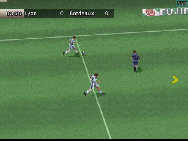 In-game screen of the game FIFA 99 on Sony Playstation
