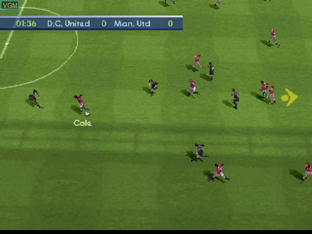 In-game screen of the game FIFA 2001 on Sony Playstation