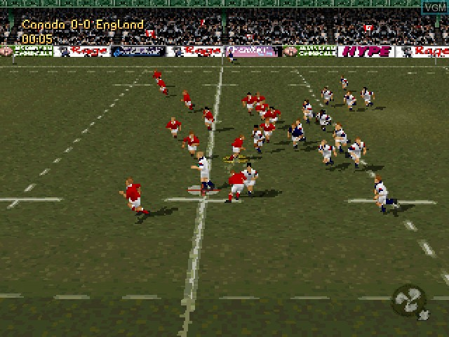 In-game screen of the game Jonah Lomu Rugby on Sony Playstation