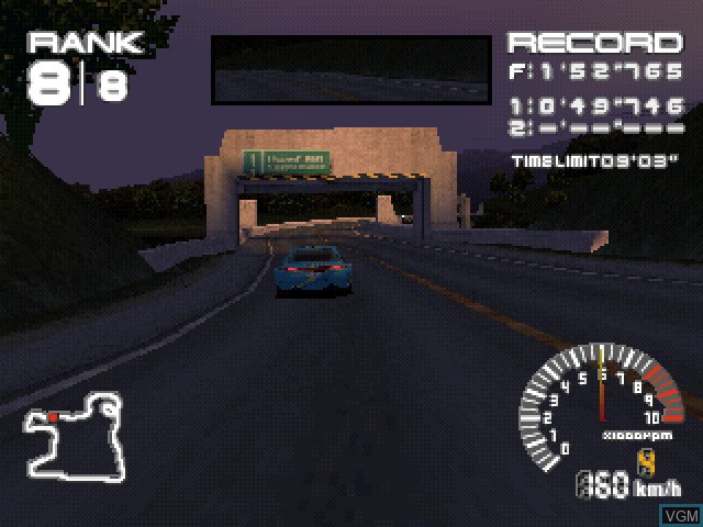 In-game screen of the game Ridge Racer Type 4 on Sony Playstation