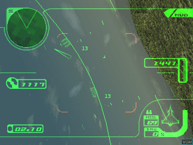 In-game screen of the game Ace Combat 3 - Electrosphere on Sony Playstation