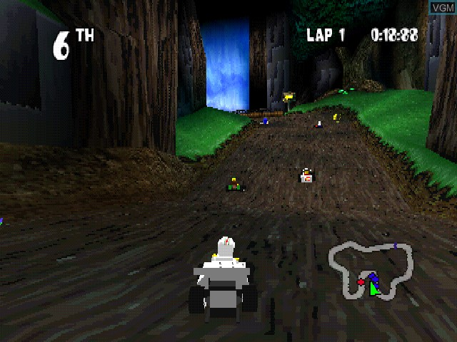 In-game screen of the game LEGO Racers on Sony Playstation