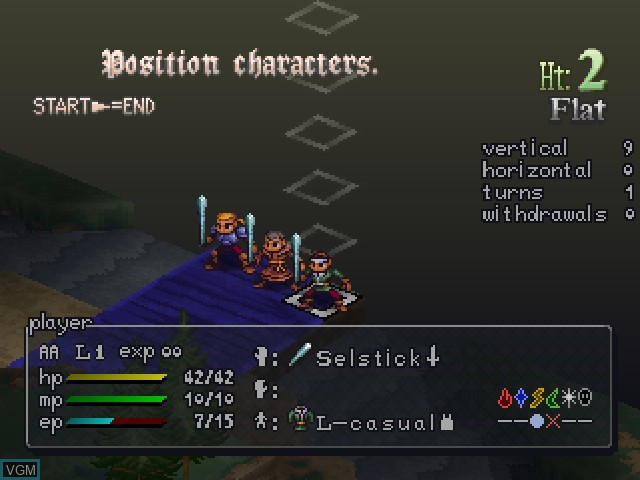 In-game screen of the game Vandal Hearts II on Sony Playstation