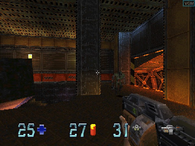 In-game screen of the game Quake II on Sony Playstation