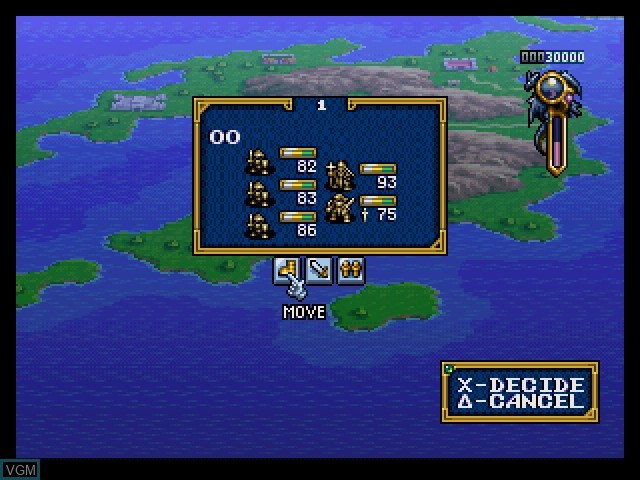 In-game screen of the game Ogre Battle - Limited Edition on Sony Playstation