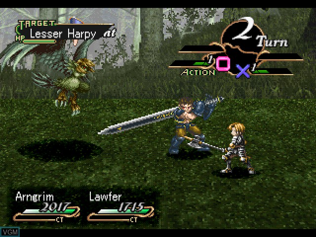 In-game screen of the game Valkyrie Profile on Sony Playstation