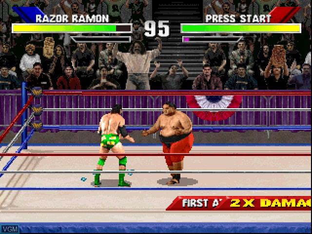 In-game screen of the game WWF WrestleMania - The Arcade Game on Sony Playstation