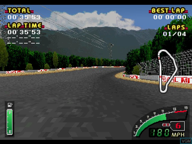 In-game screen of the game Indy 500 on Sony Playstation
