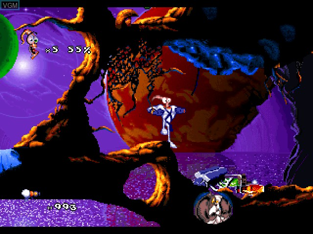 In-game screen of the game Earthworm Jim 2 on Sony Playstation