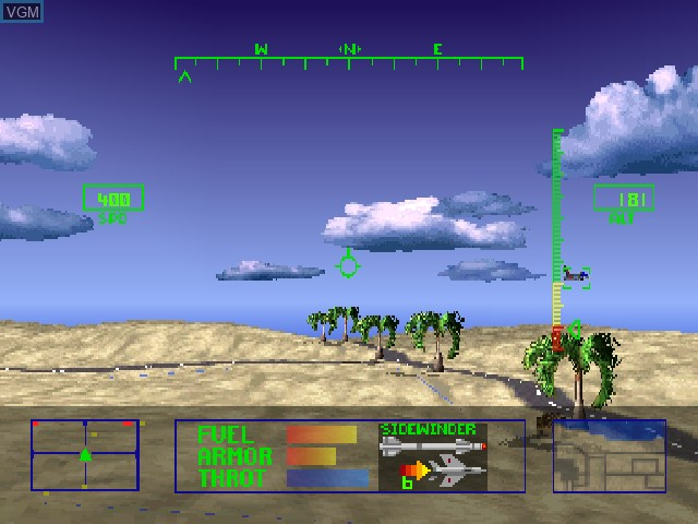 In-game screen of the game Agile Warrior F-111X on Sony Playstation