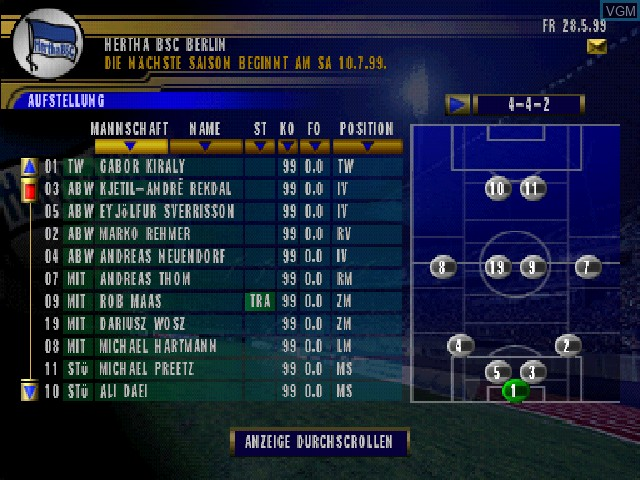 In-game screen of the game Bundesliga 2000 - Der Fussball-Manager on Sony Playstation