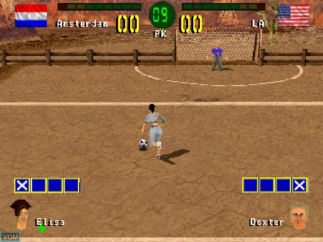 In-game screen of the game Chris Kamara's Street Soccer on Sony Playstation