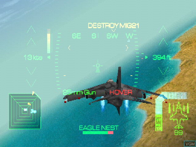 In-game screen of the game Eagle One - Harrier Attack on Sony Playstation
