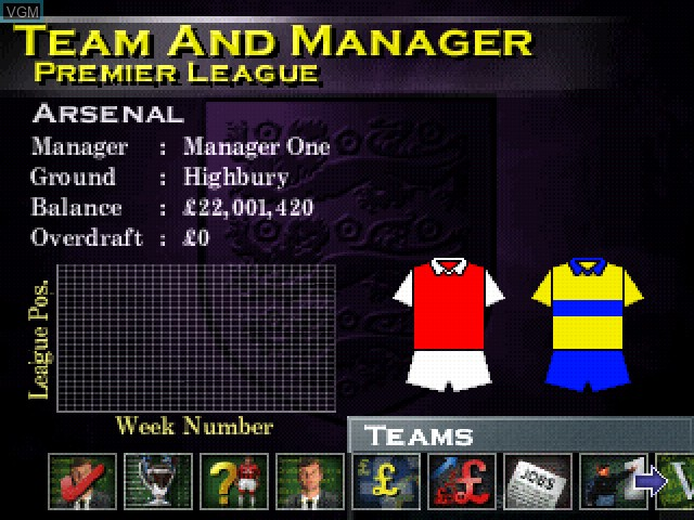 In-game screen of the game F.A. Manager on Sony Playstation