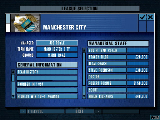 In-game screen of the game F.A. Premier League Football Manager 2001, The on Sony Playstation