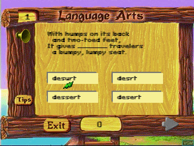 In-game screen of the game Faire Games - Language Arts on Sony Playstation
