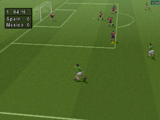 In-game screen of the game FIFA - Road to World Cup 98 on Sony Playstation
