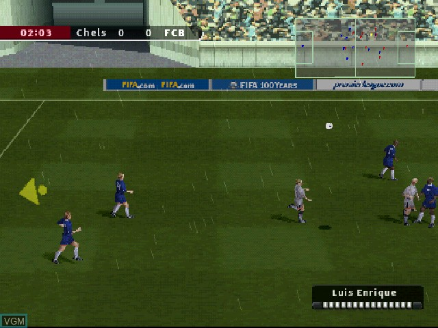 In-game screen of the game FIFA Football 2004 on Sony Playstation