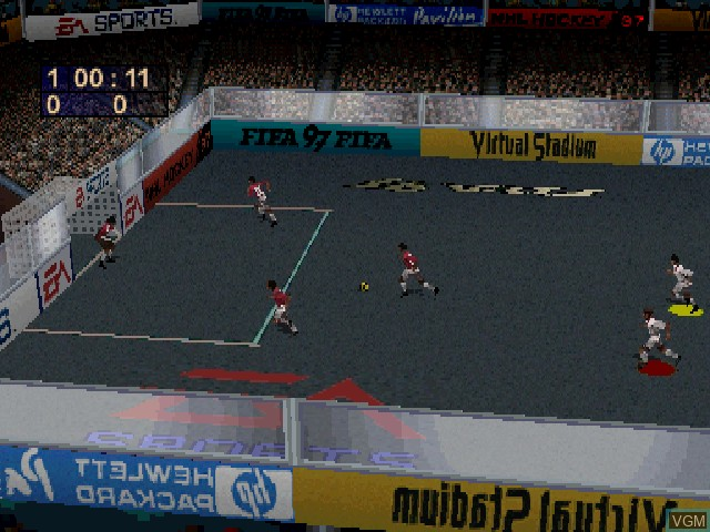 In-game screen of the game FIFA 97 on Sony Playstation