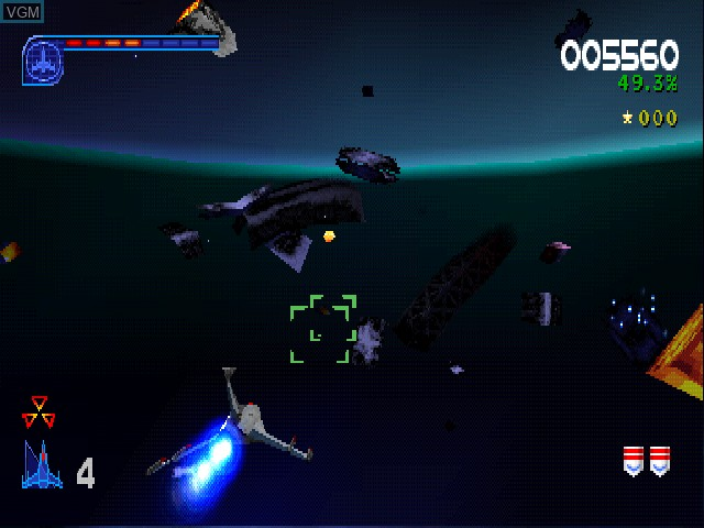 In-game screen of the game Galaga - Destination Earth on Sony Playstation