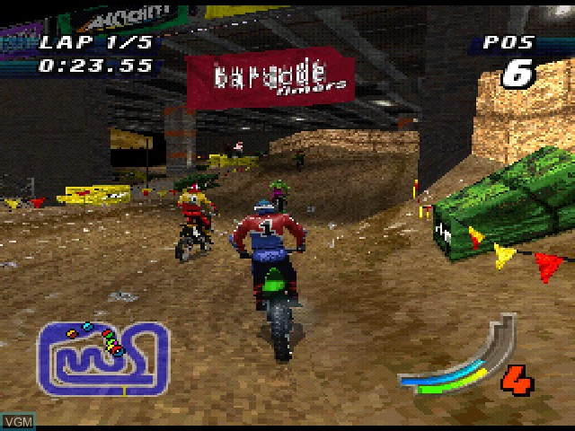 In-game screen of the game Jeremy McGrath Supercross 98 on Sony Playstation
