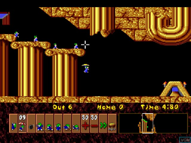 In-game screen of the game Lemmings & Oh No! More Lemmings on Sony Playstation