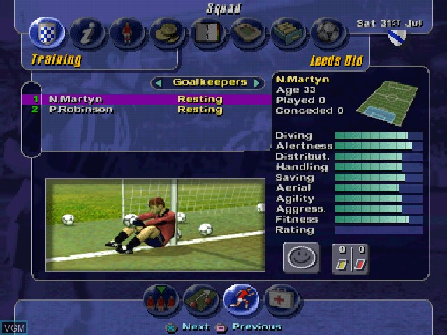In-game screen of the game LMA Manager on Sony Playstation