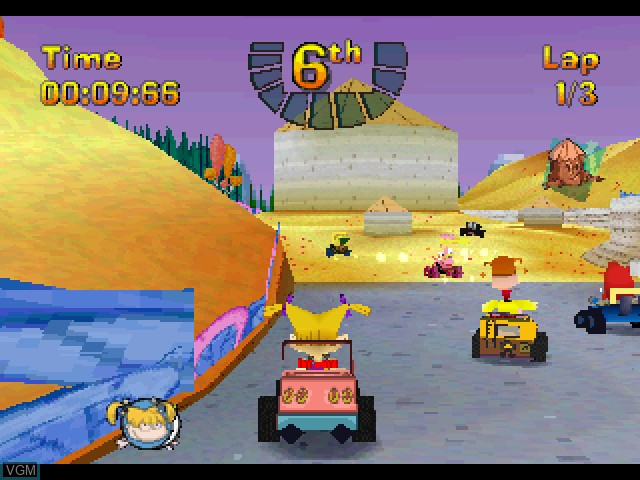 In-game screen of the game Nicktoons Racing on Sony Playstation