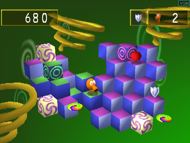 In-game screen of the game Q-bert on Sony Playstation