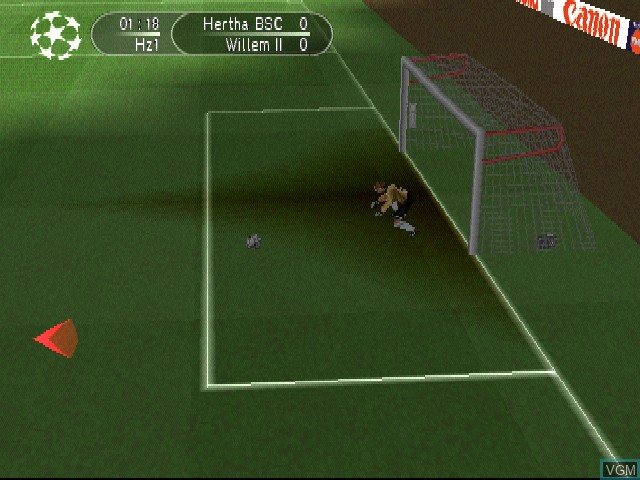 In-game screen of the game UEFA Champions League - Season 1999-2000 on Sony Playstation