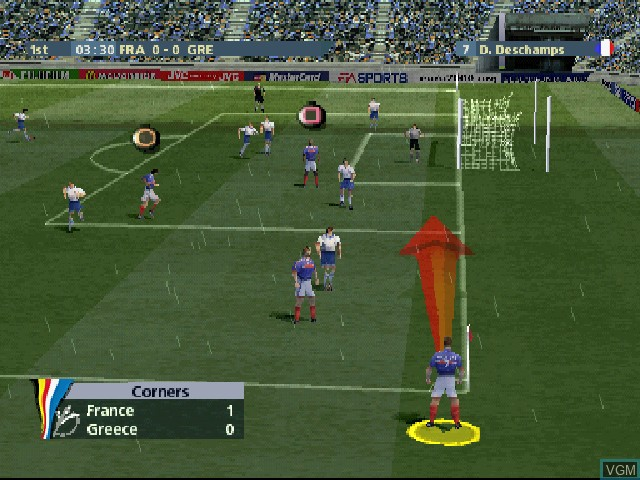 In-game screen of the game UEFA Euro 2000 on Sony Playstation