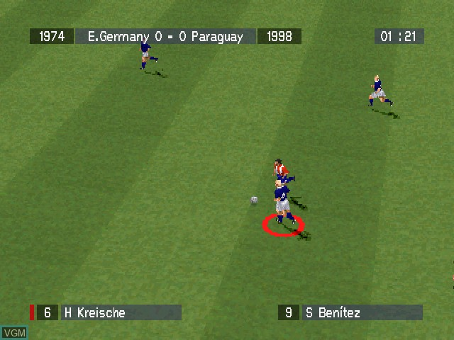 In-game screen of the game Viva Soccer on Sony Playstation