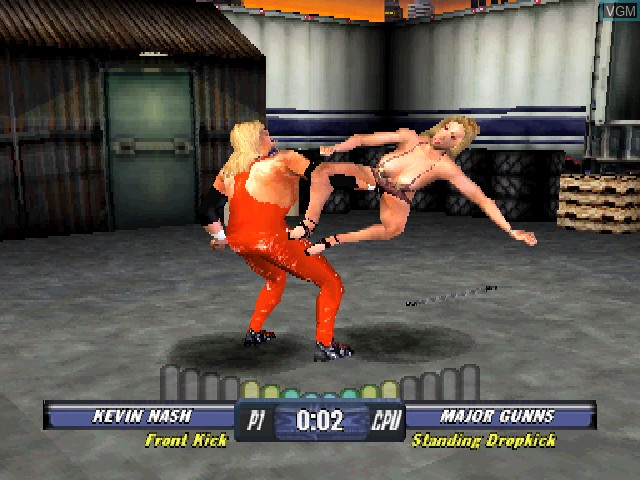 In-game screen of the game WCW Backstage Assault on Sony Playstation