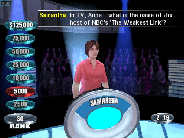 In-game screen of the game Weakest Link, The on Sony Playstation