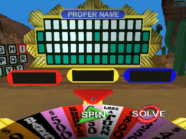 In-game screen of the game Wheel of Fortune on Sony Playstation