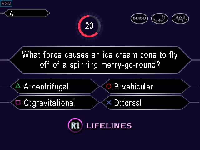 In-game screen of the game Who Wants to Be a Millionaire - 2nd Edition on Sony Playstation