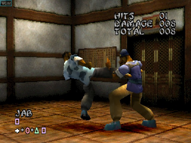 In-game screen of the game Wu-Tang - Shaolin Style on Sony Playstation