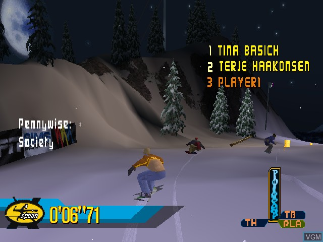 In-game screen of the game X Games Pro Boarder on Sony Playstation