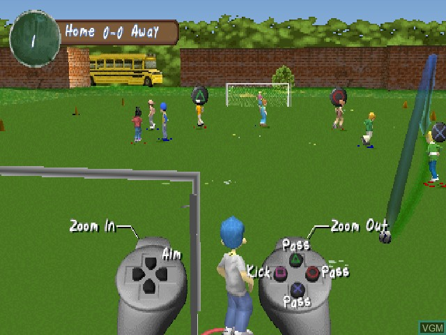 In-game screen of the game XS Junior League Soccer on Sony Playstation