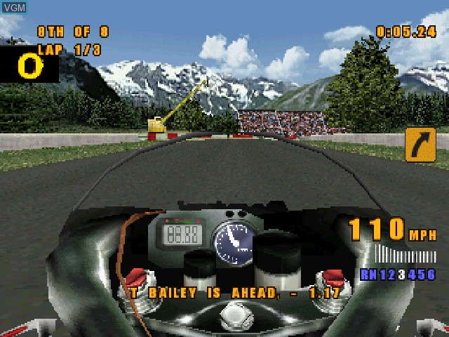 In-game screen of the game XS Moto on Sony Playstation