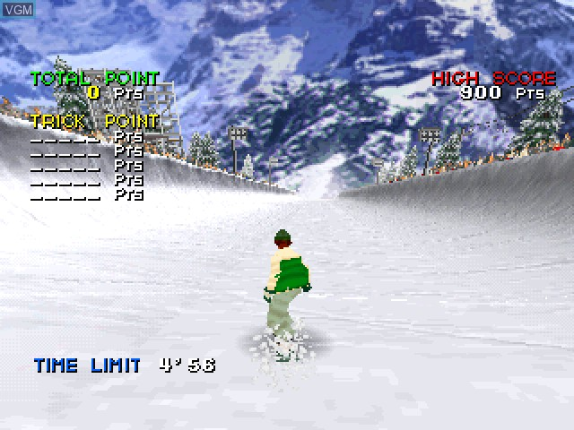 In-game screen of the game Zap! Snowboarding Trix '98 on Sony Playstation