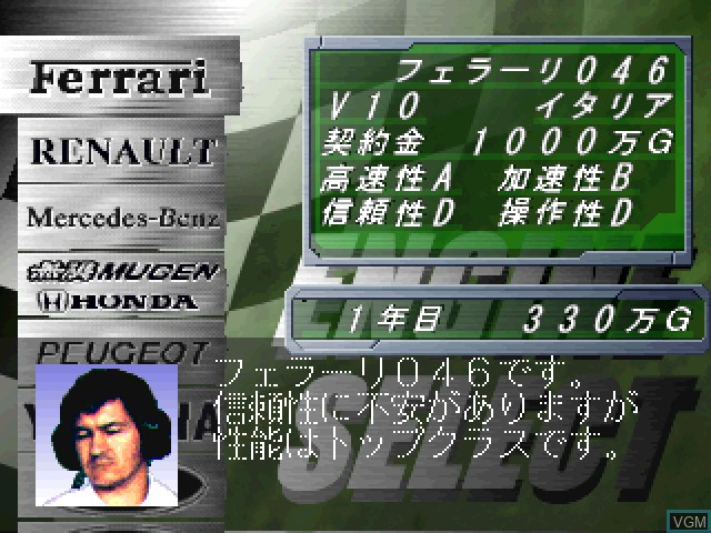 In-game screen of the game F-1 Grand Prix 1996 - Team Unei Simulation on Sony Playstation