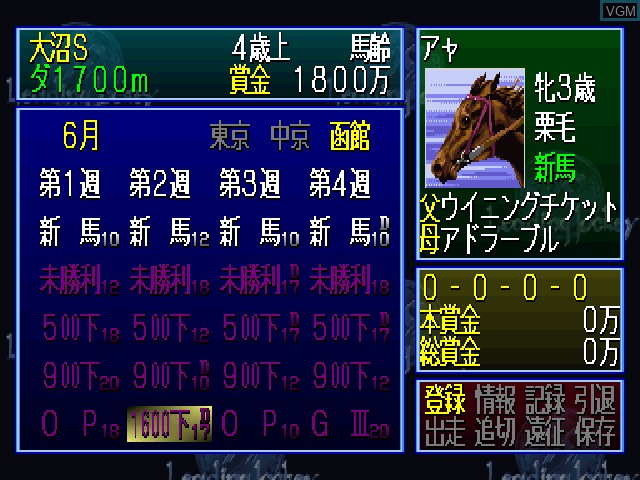 In-game screen of the game Leading Jockey '99 on Sony Playstation