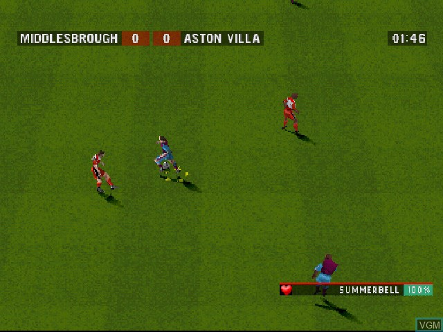 In-game screen of the game F.A. Premier League Stars 2001, The on Sony Playstation