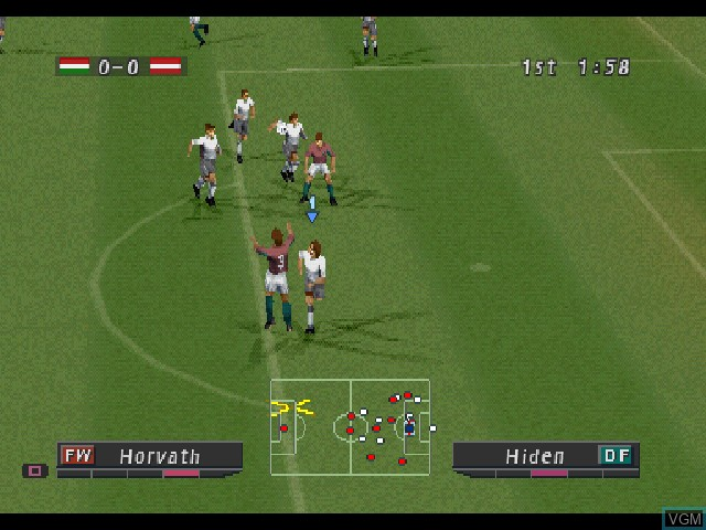 In-game screen of the game Pro Evolution Soccer 2 on Sony Playstation