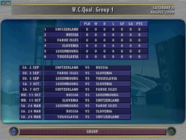In-game screen of the game Sven-Goeran Eriksson's World Manager on Sony Playstation